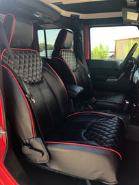 2013-2018 Jeep Wrangler JK 4DR Black Diamond with Red Stiching Red Piping Syn Leather Custom Seat Covers