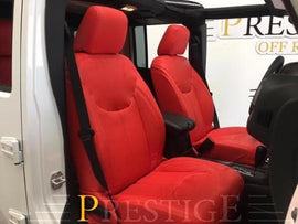 2013-2018 Jeep Wrangler JK 4DR Red Seat Covers Syn Leather Custom