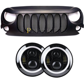 07-17 BEAST FRONT MATTE BLACK WITH BUILT-IN MESH GRILLE FOR JEEP WRANGLER JK WITH HALO HEADLIGHT COMBO