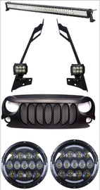2007-2017 Jeep Wrangler JK Combo Beast Grille, 52 Inch Light bar with Pillar Mount, 2x 4 Inch Pods, Honey NestLED Headlight