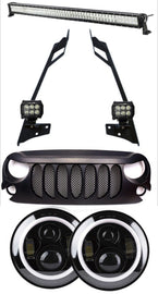 2007-2018 Jeep Wrangler JK Combo Beast Grille, 52 Inch Light bar with Pillar Mount, 2x 4 Inch Pods, Angel Eye Halo LED Headlight