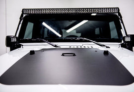 07-18 Jeep Wrangler JK 52 Inch Led Lightbar and 2x 4 Inch Pods with Pillar Mount
