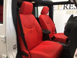 2013-2018 Jeep Wrangler JK 4DR Red with Diamond Syn Leather Custom Seat Covers