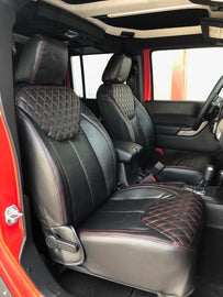 2013-2018 Jeep Wrangler JK 4DR Black Diamond with Red Stiching Syn Leather Custom Seat Covers