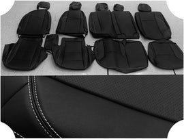 Synthetic Leather Seat Covers for 2016-2020 Toyota Tacoma Double Cab Black/white