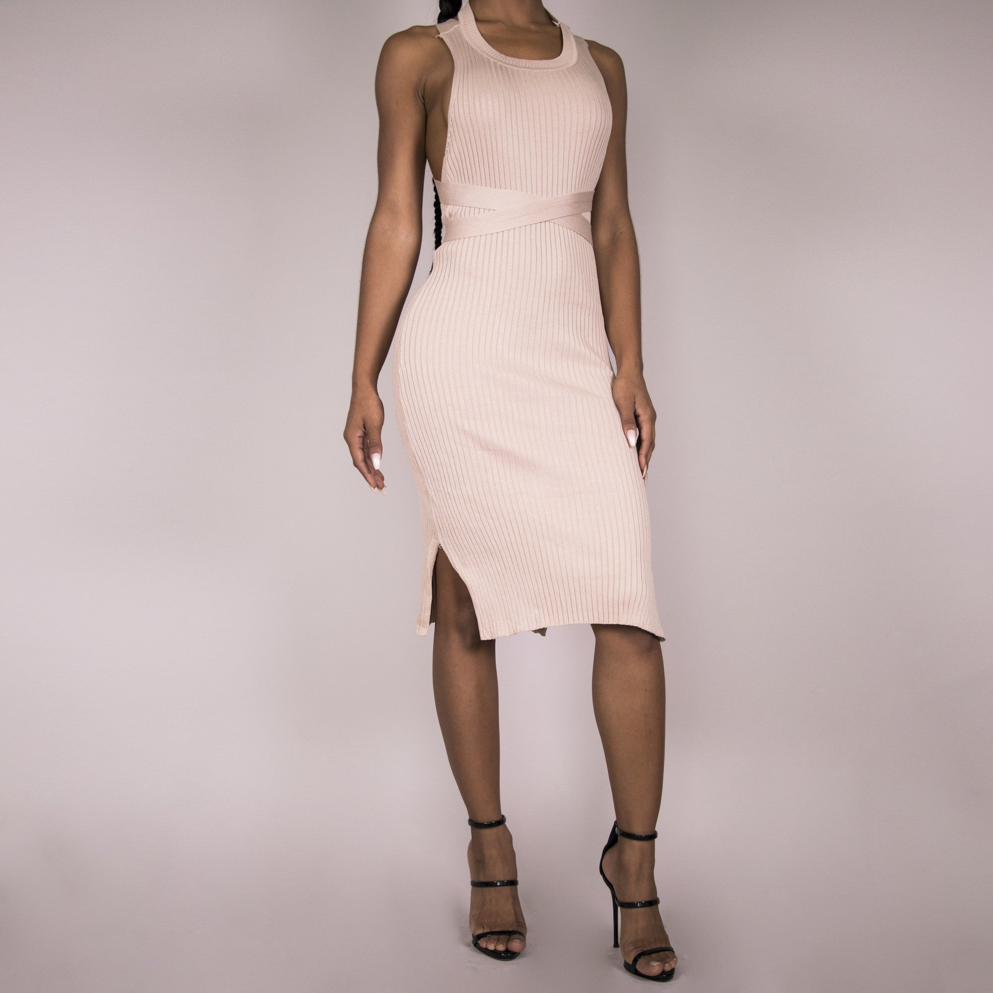 Brittany Bandage Dress - Blush Pink | Raregal