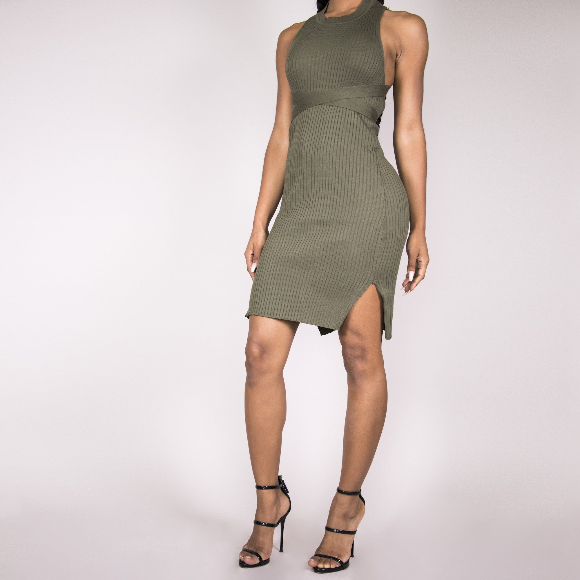 Brittany Bandage Dress - Olive | Raregal