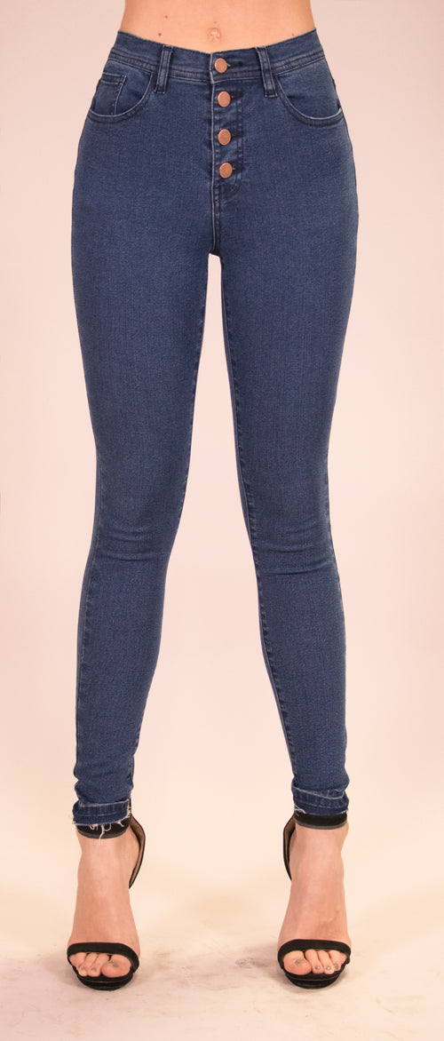 Niki High Rise Skinny Jeans - Medium Blue Wash