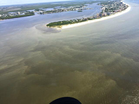 The outflow of brown, muddy freshwater penetrate the blue-green waters of Fort Myers and Sanibel, Florida.