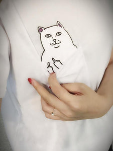Women T Shirt Finger Pocket Cat Funny