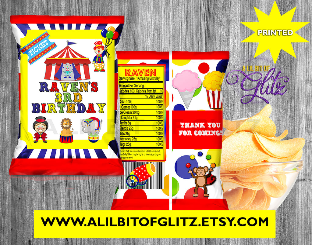 Custom Party Favors Printed Party Printables Digital Chip Bag Circus Chip Bags Circus Party