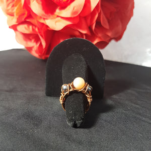"Cat Eye and Hematite ""Gears"" Ring"