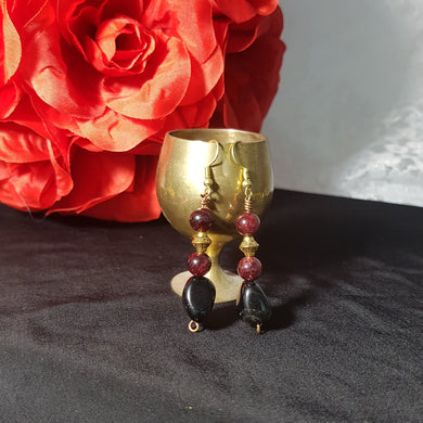 Red Garnet Black Onyx Earrings