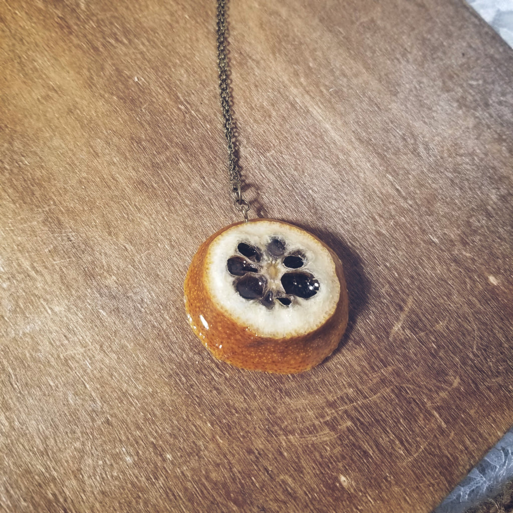 Glossed Lemon Back Necklace