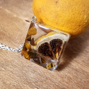 Diced&Sliced Tigers Eye & Lemon Necklace