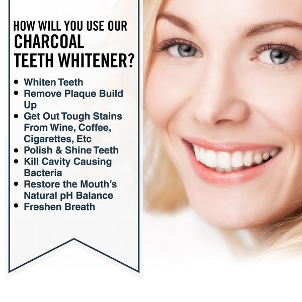 Fiberganic Charcoal Teeth Whitening Powder 2.1 Ounce 2-Pack