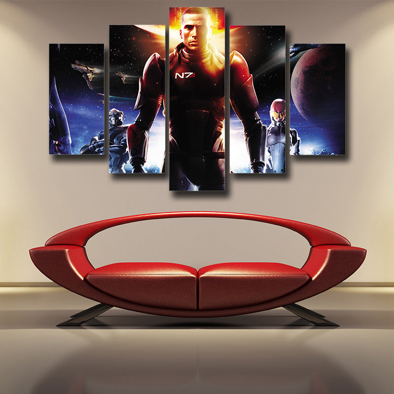 Mass Effect Commander Shepard Soldier Cool 5pc Wall Art Canvas Prints
