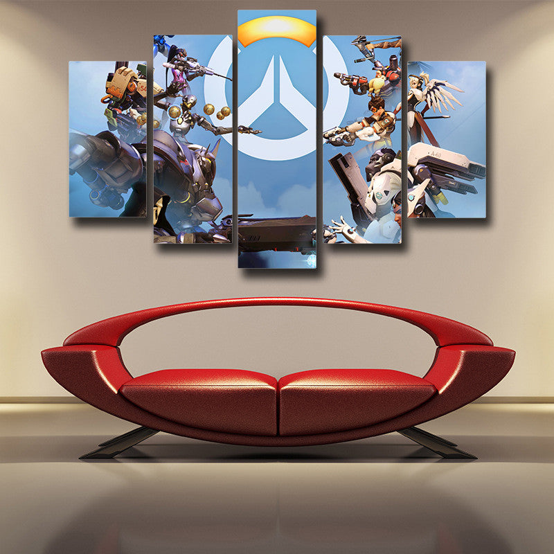 Overwatch Symbol Logo Heroes 5pc Wall Art Canvas Prints