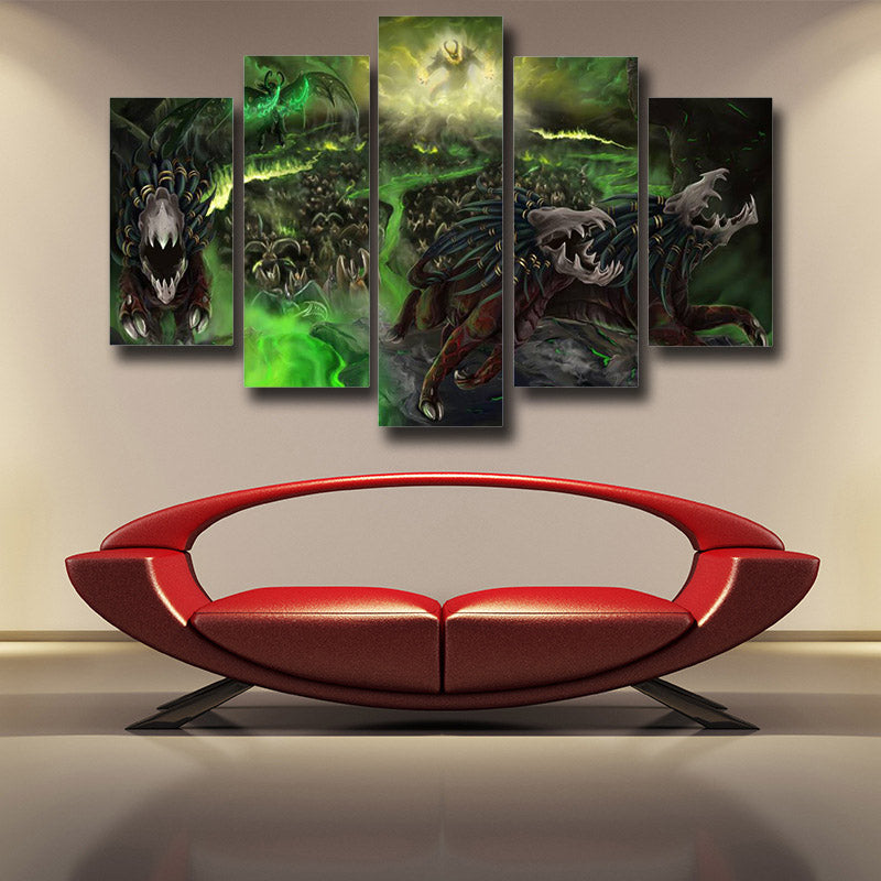World of Warcraft Felhound Monster Creature Artwork 5pc Wall Art Prints