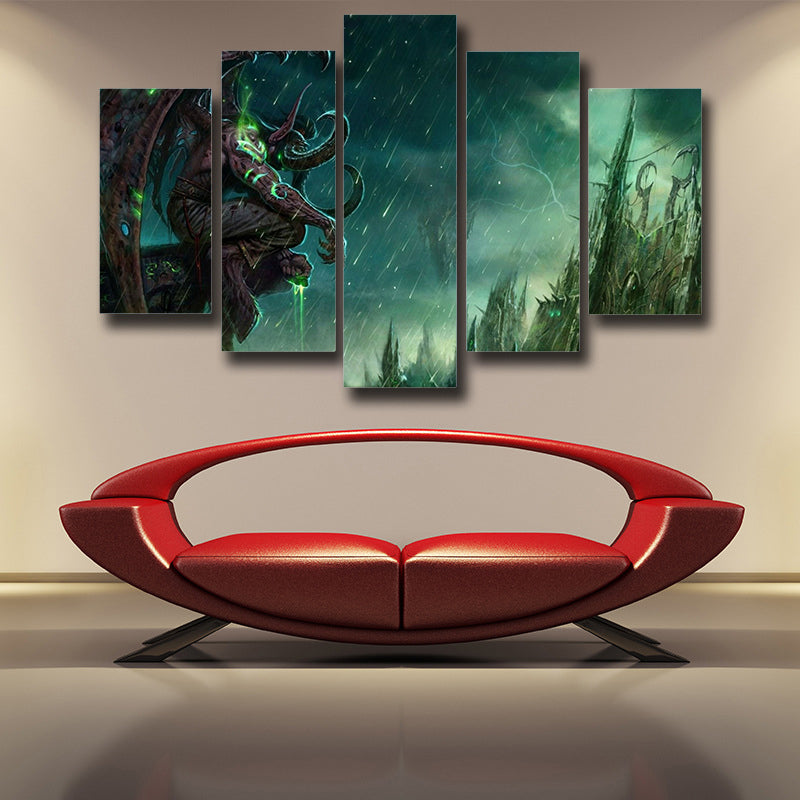 World of Warcraft Illidan The Betrayer Hunter Game 5pc Wall Art Prints