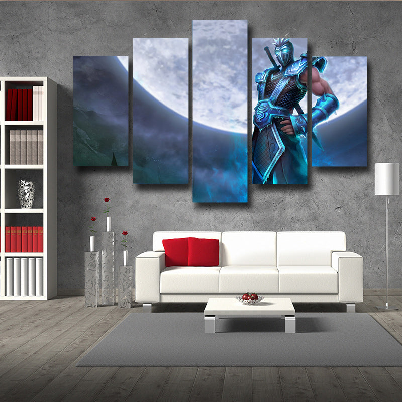 League of Legends Shen Mysterious Knight Blue Color 5pc Wall Art