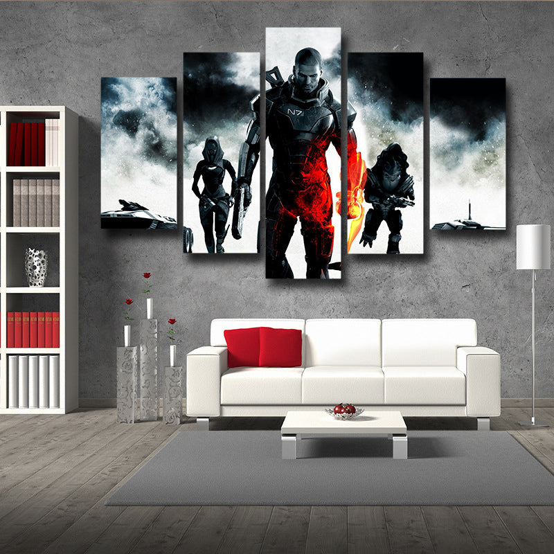 Mass Effect Collab Battlefield Captain Shepard 5pc Wall Art Canvas Prints