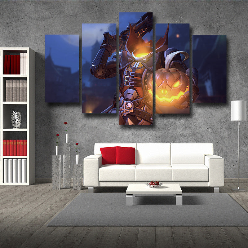 Overwatch Reaper Pumpkin Head 5pc Wall Art Decor Canvas Prints
