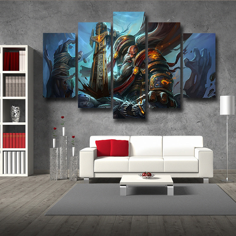 World of Warcraft Kurdran Drawf Warrior Art Gaming 5pc Wall Art Prints