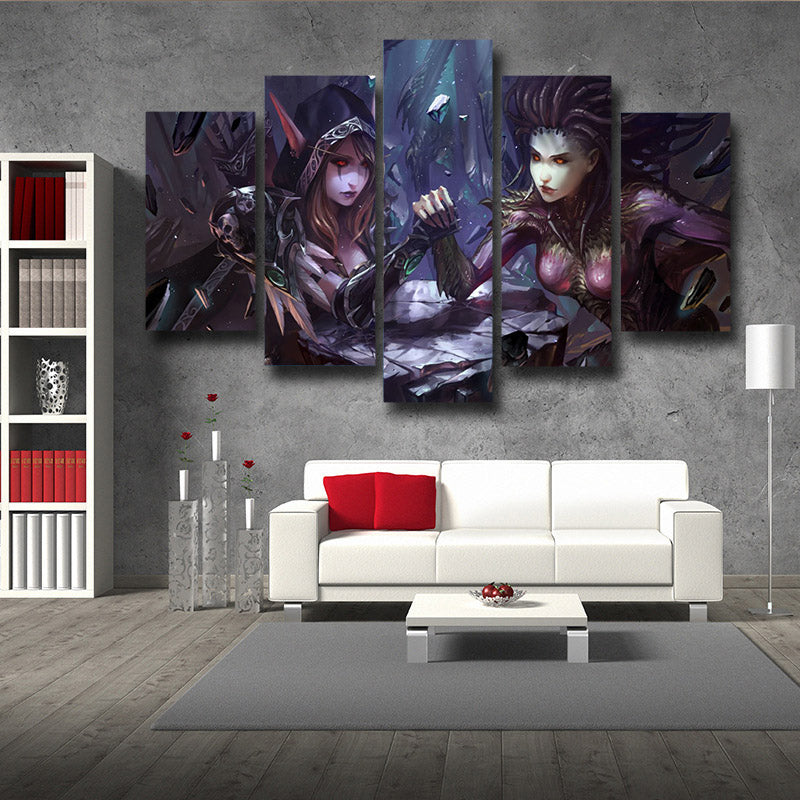 World of Warcraft Sylvanas Fight Zerg Queen Starcraft 5pc Poster Prints