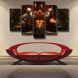 World of Warcraft Garrosh Orc Warlord Cool 5pc Wall Art Canvas Prints