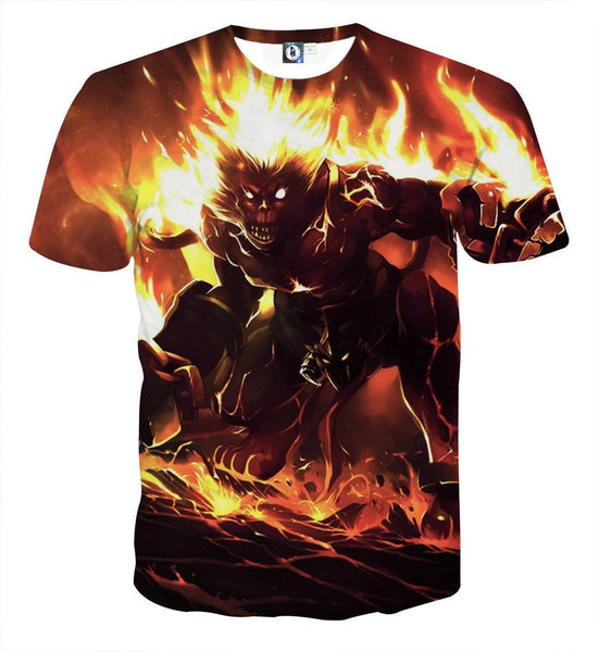 League of Legends Sun Wukong Tank Monkey King Fire Flame 3D T-Shirt - Gaming Geek Kingdom