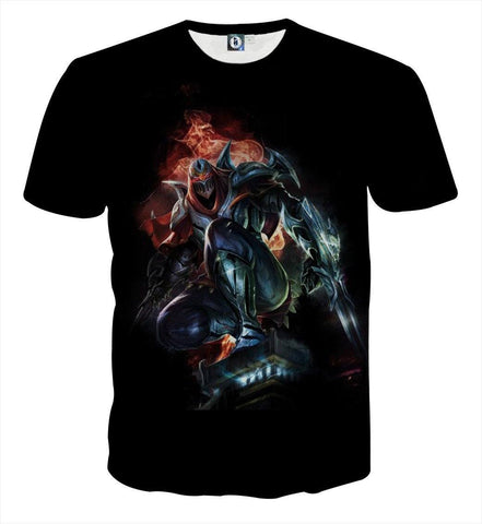 League of Legends Zed The Master of Shadow Character Print T-Shirt