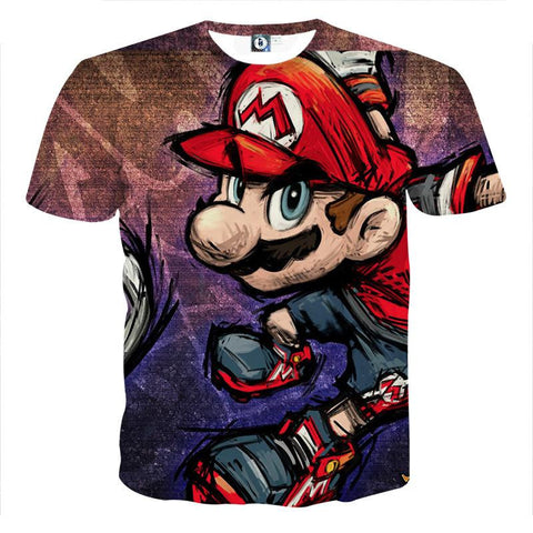 Super Mario Cartoon Sketch Cool Style Hip-Hop Design T-Shirt