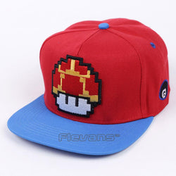 Super Mario Cute Toad Red and Blue Streetwear Baseball Hat Cap