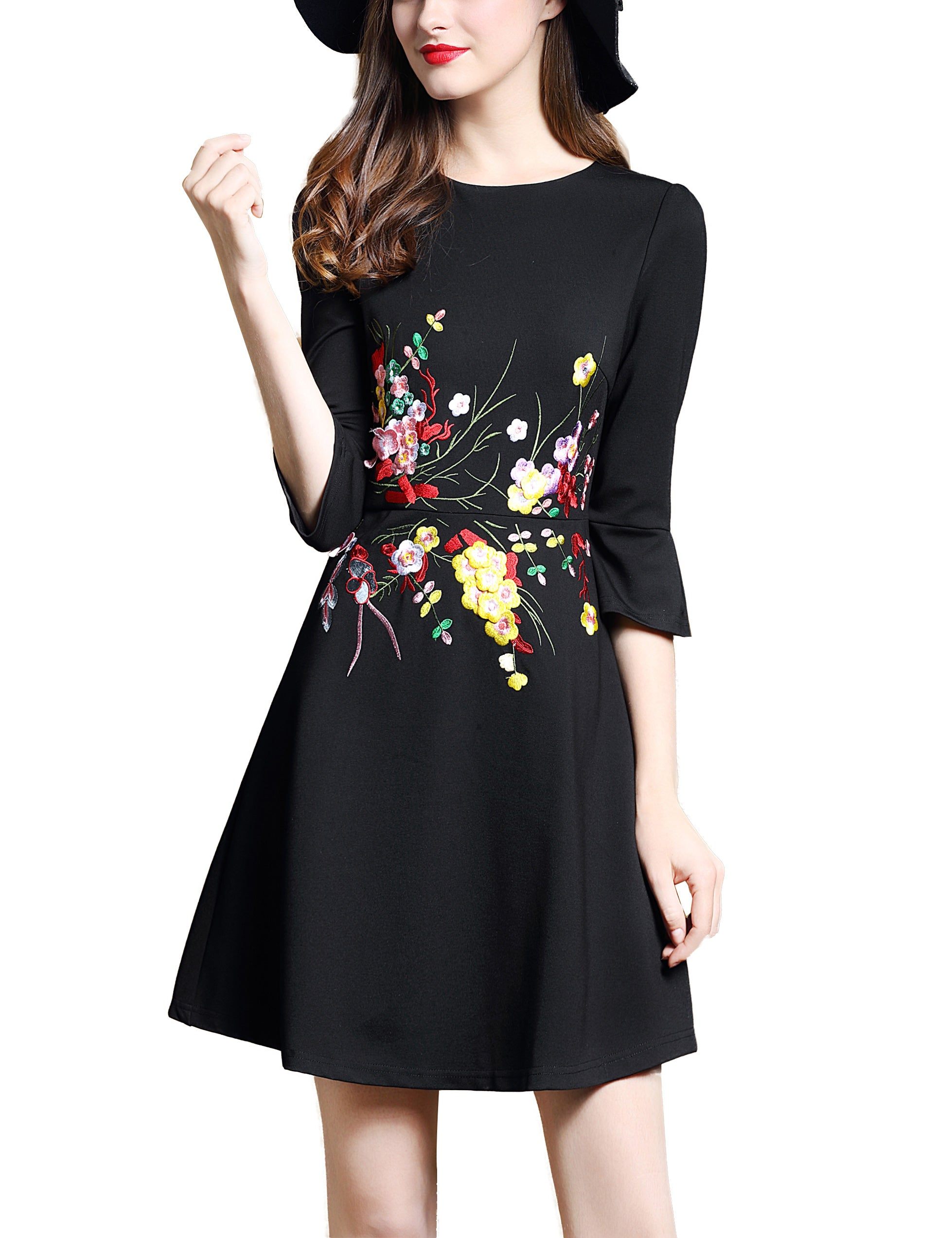 Lace embroidered tassel dress 40