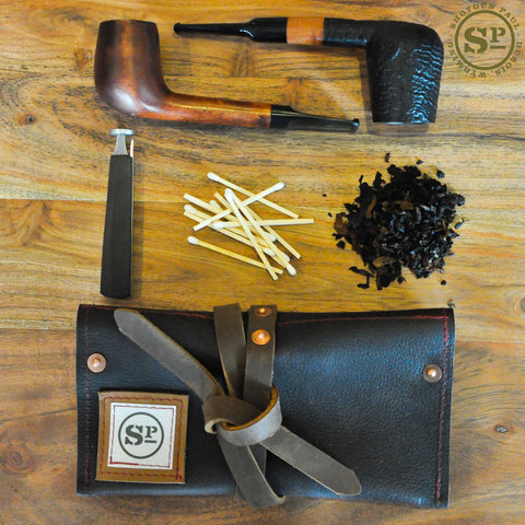Cowhide Leather Pipe Pouch with Tobacco Pocket