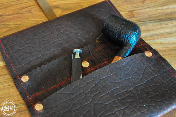 Bison Leather Pipe Pouch with Tobacco Pocket