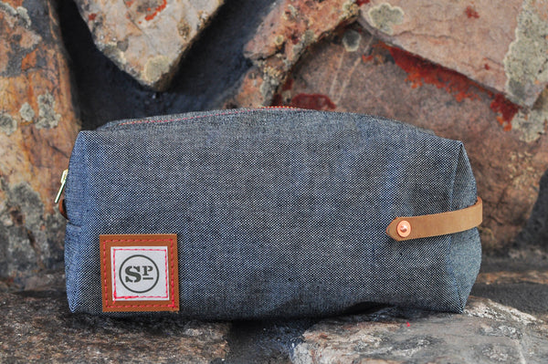 Denim Dopp Kit with Leather Handles