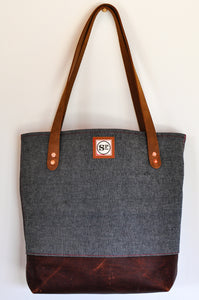 Selvedge Denim Tote with Leather Handles and Light Brown Leather Bottom