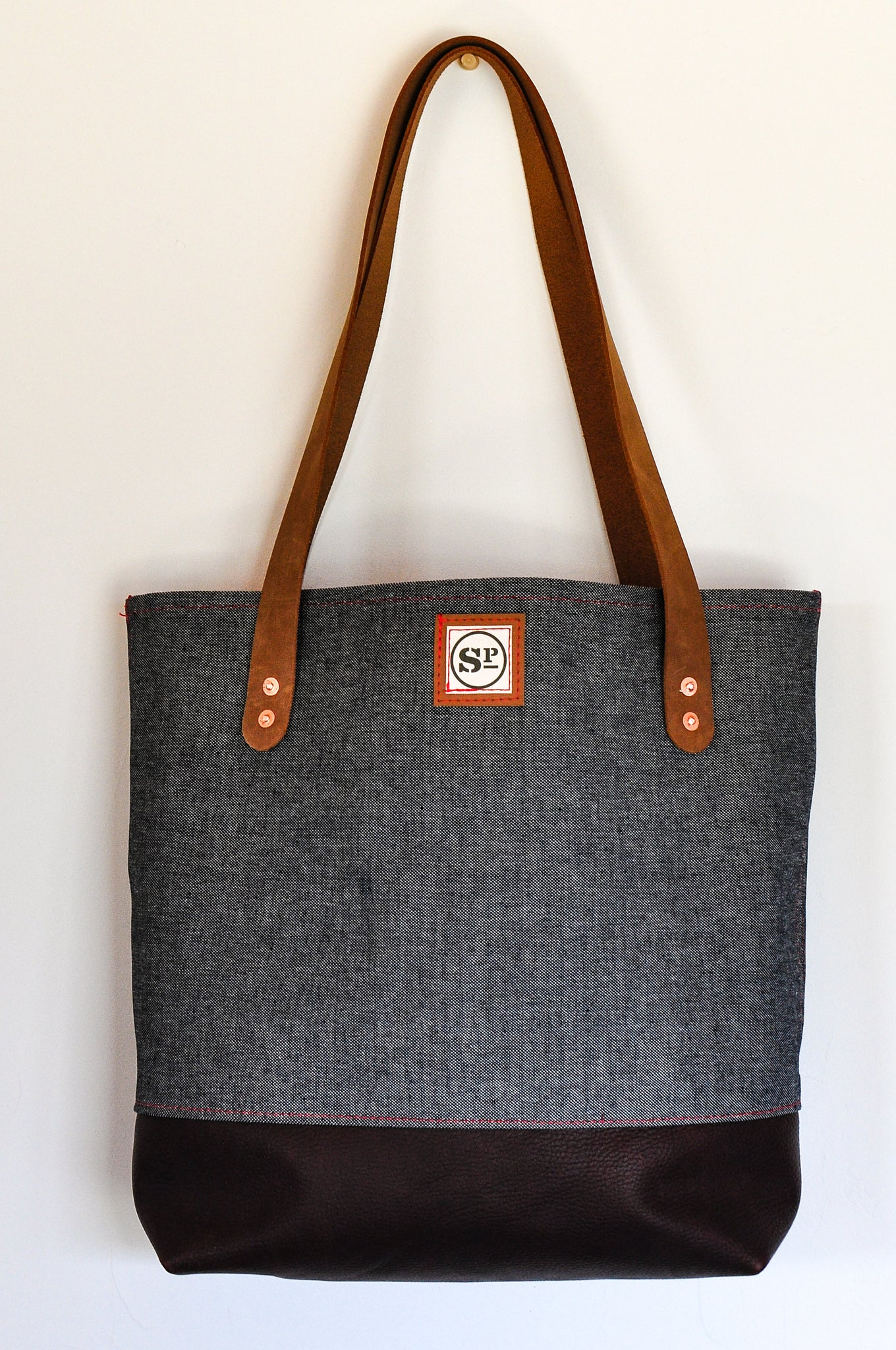 Selvedge Denim Tote with Leather Handles and Dark Leather Bottom