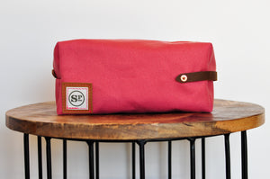 Nantucket Red Duck Canvas Dopp Kit with Leather Handles