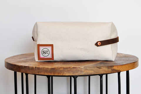 Natural Duck Canvas Dopp Kit with Leather Handles
