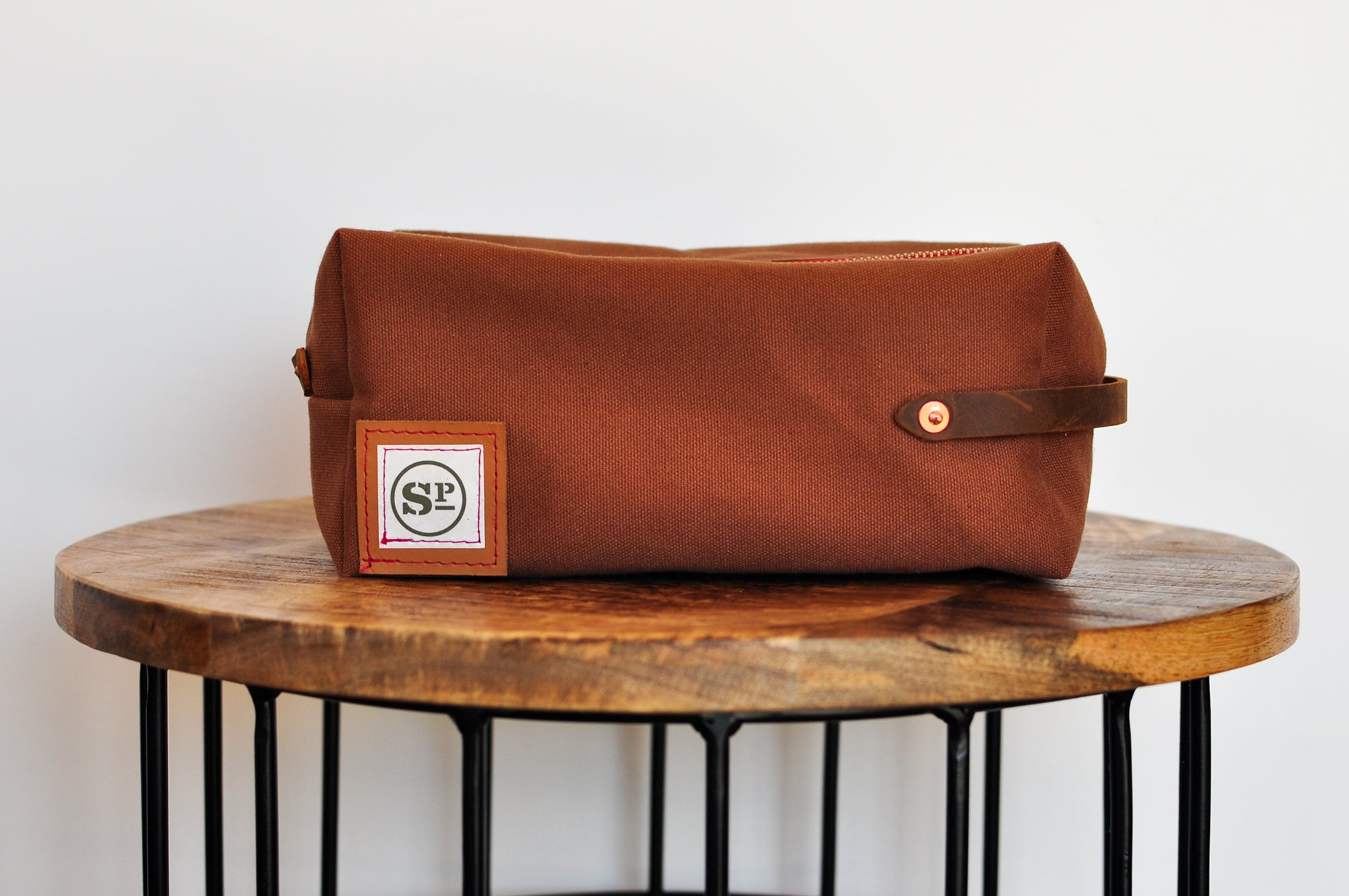 Brown Duck Canvas Dopp Kit with Leather Handles