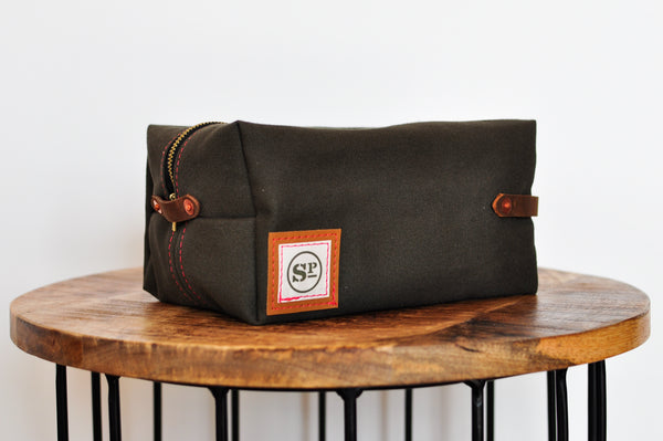 Pine Duck Canvas Dopp Kit with Leather Handles