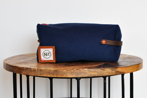 Navy Duck Canvas Dopp Kit with Leather Handles