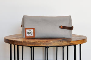 Gray Duck Canvas Dopp Kit with Leather Handles