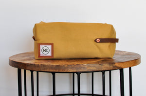 Tan Duck Canvas Dopp Kit with Leather Handles