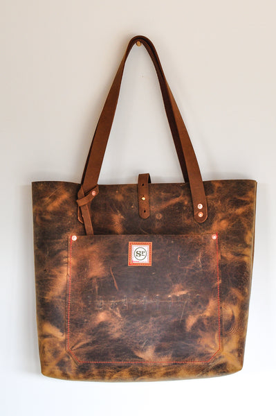 Dark Brown Large Leather Tote with Leather Handles