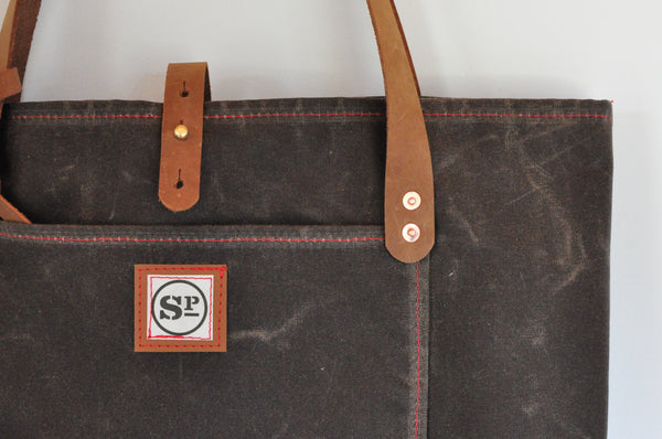 Large Martexin Waxed Canvas Tote with Leather Handles