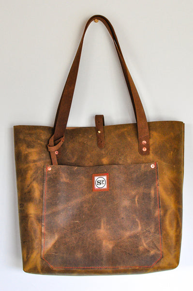 Tan Large Leather Tote with Leather Handles